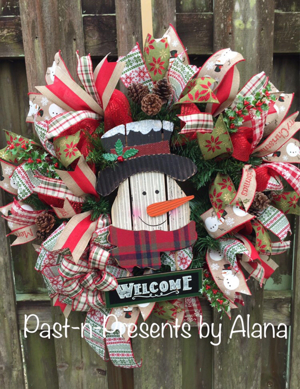 Rustic Woodland Snowman Winter Or Holiday Wreath Handmade Deco Mesh