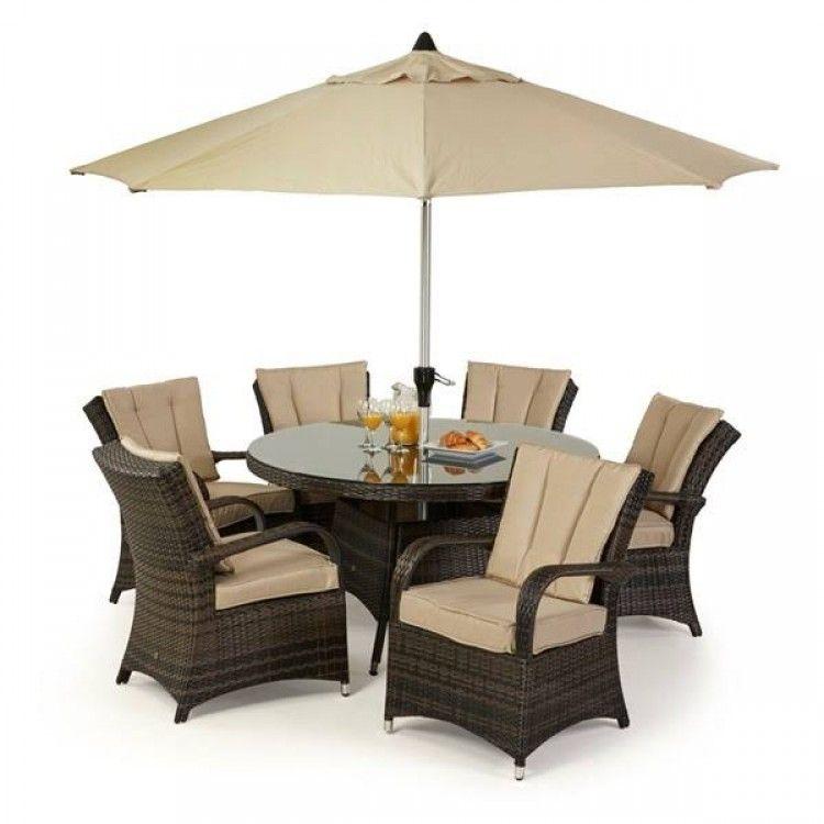maze rattan garden furniture texas brown 6 seater round table set - Garden Furniture 6 Seater Round