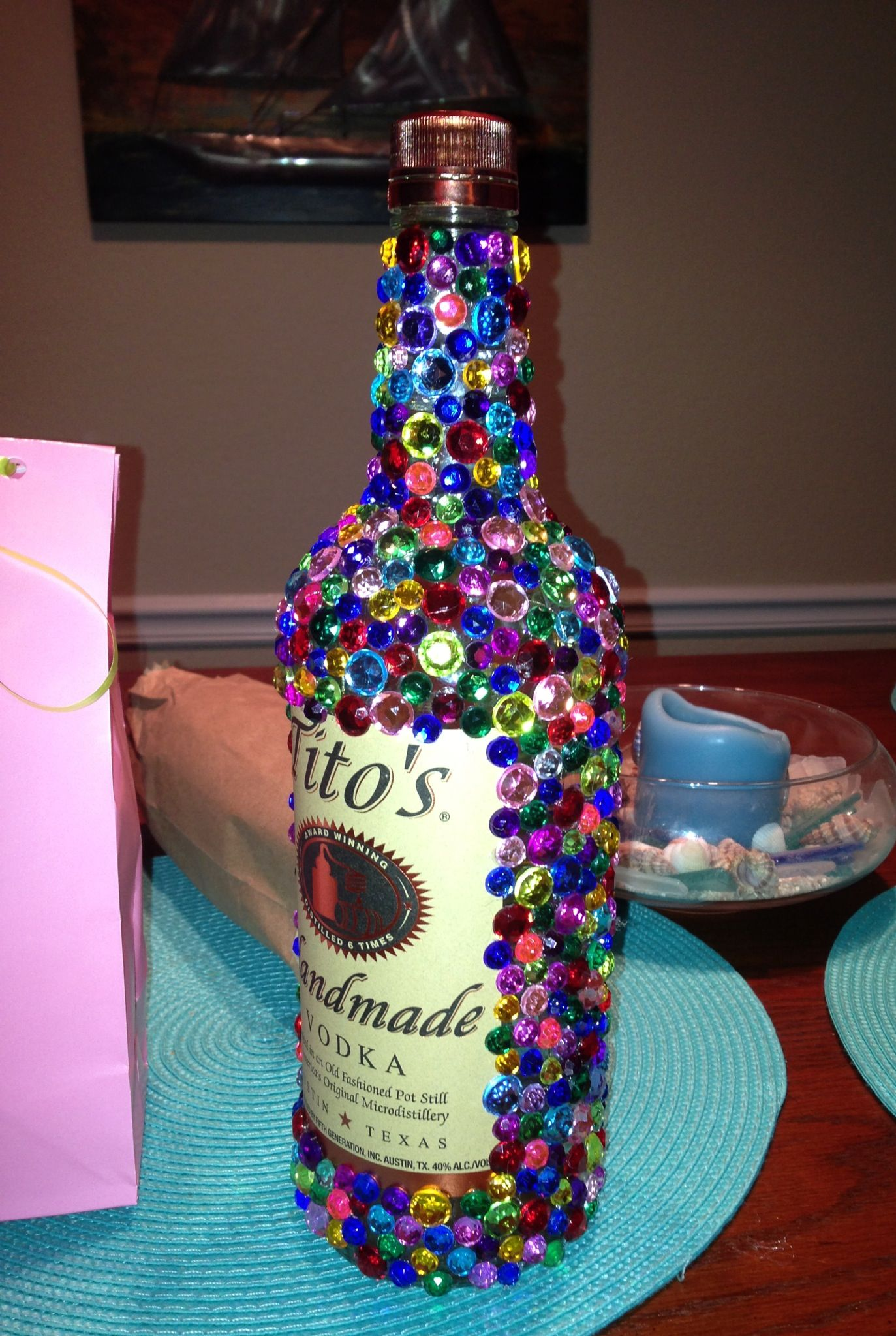 BEDAZZLED ALCOHOL BOTTLE Gift Idea For A 21st Birthday Included Hangover Kit Too Water Aspirin Gum And Mouthwash
