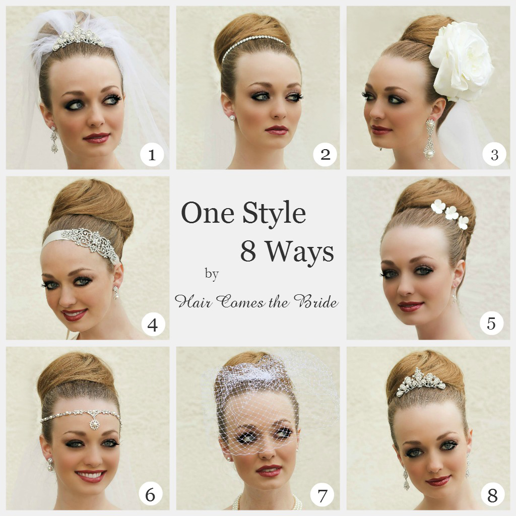 eight different looks on one hairstyle created with accessories