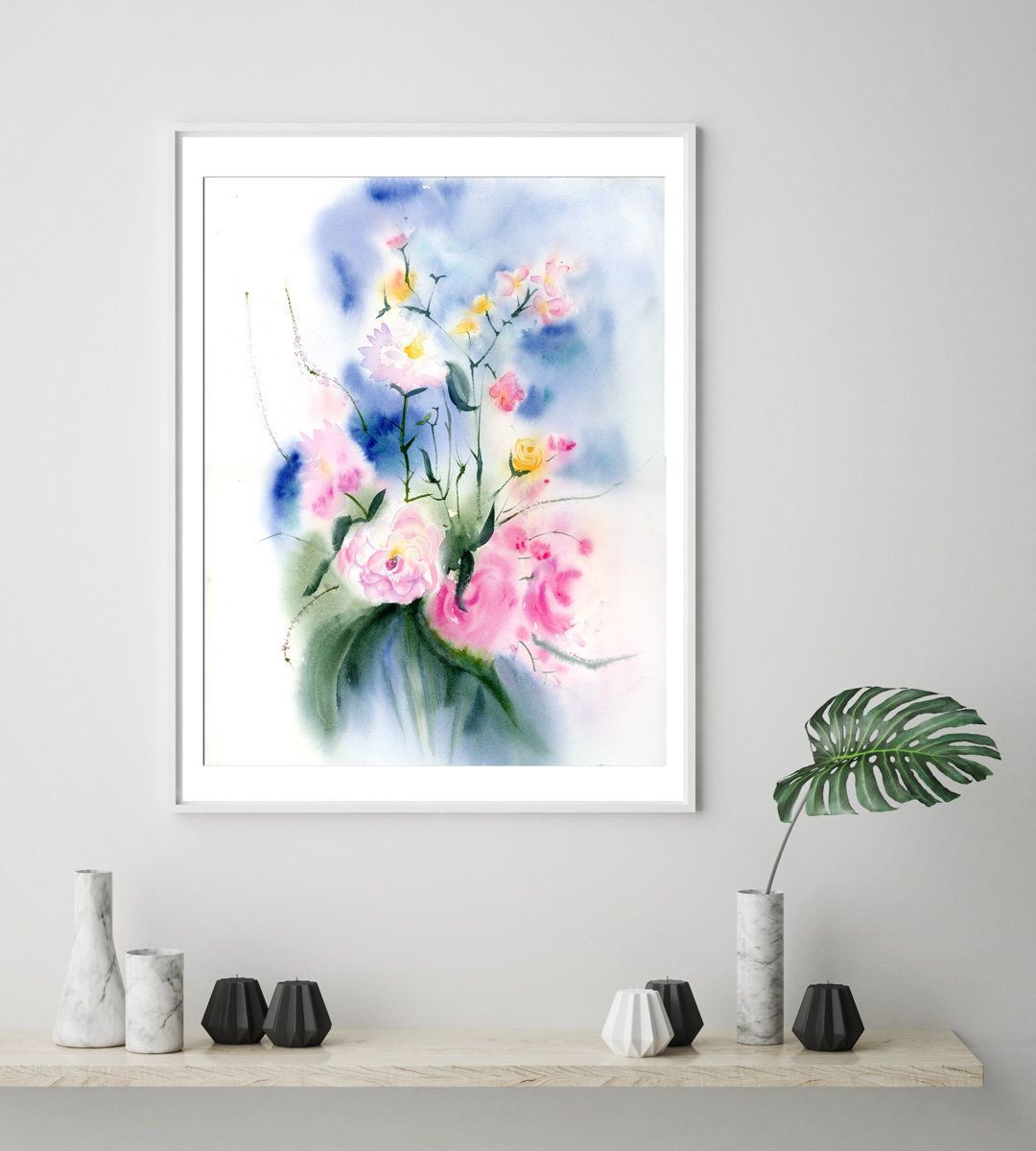 Spring bouquet art print watercolor painting abstract floral artwork