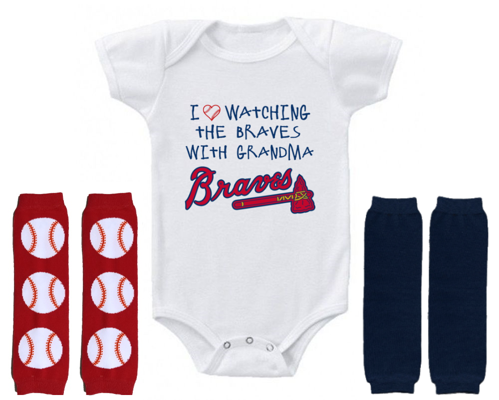 Atlanta Braves Onesie Outfit Bodysuit Love Watching With Grandma In 2020 Atlanta Braves Bodysuit Shirt Braves