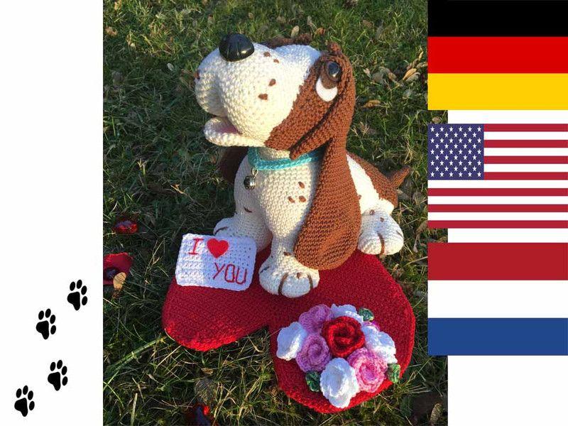 Bruno - Valentinstags Hund Häkelanleitung | Amigurumi, Catania and Pdf