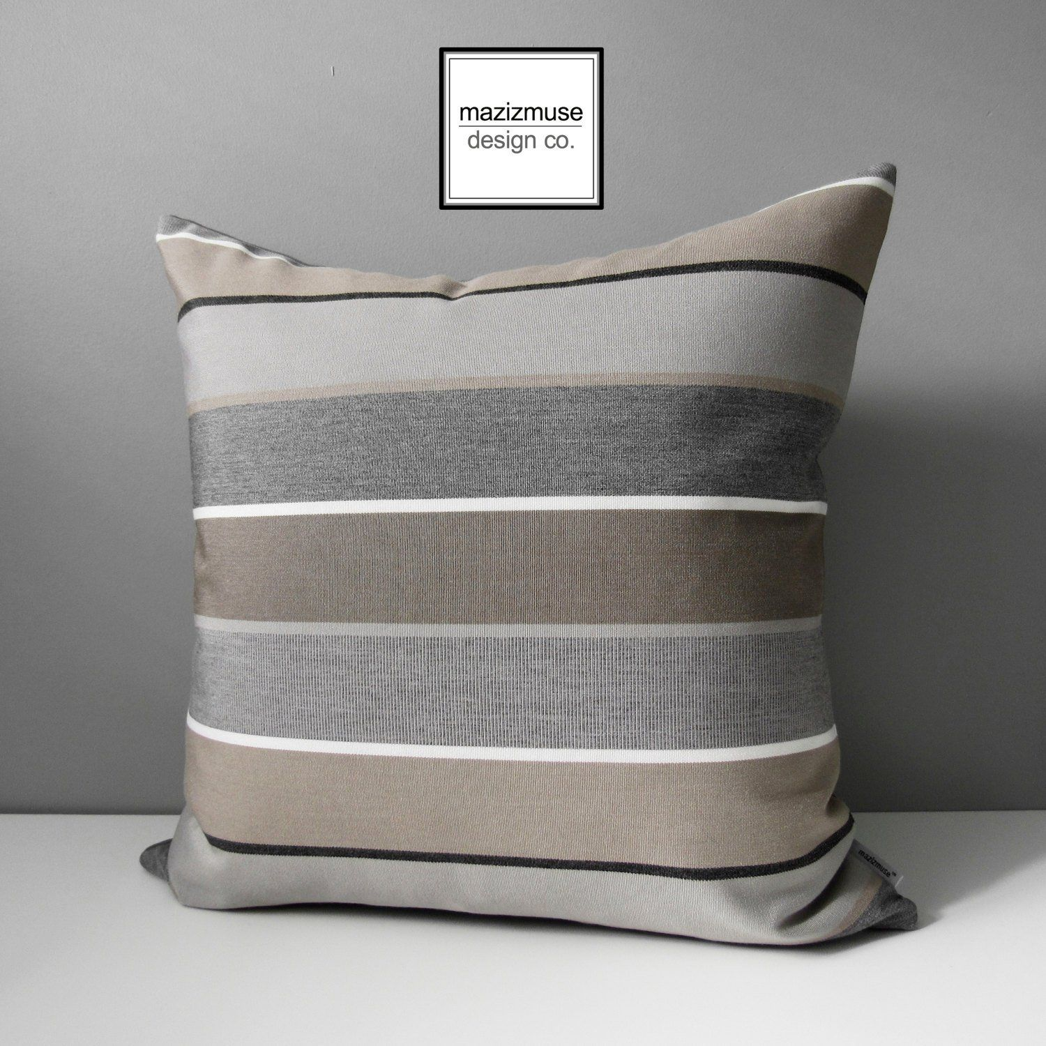 Brown Grey Outdoor Pillow Cover Decorative Striped Pillow Cover