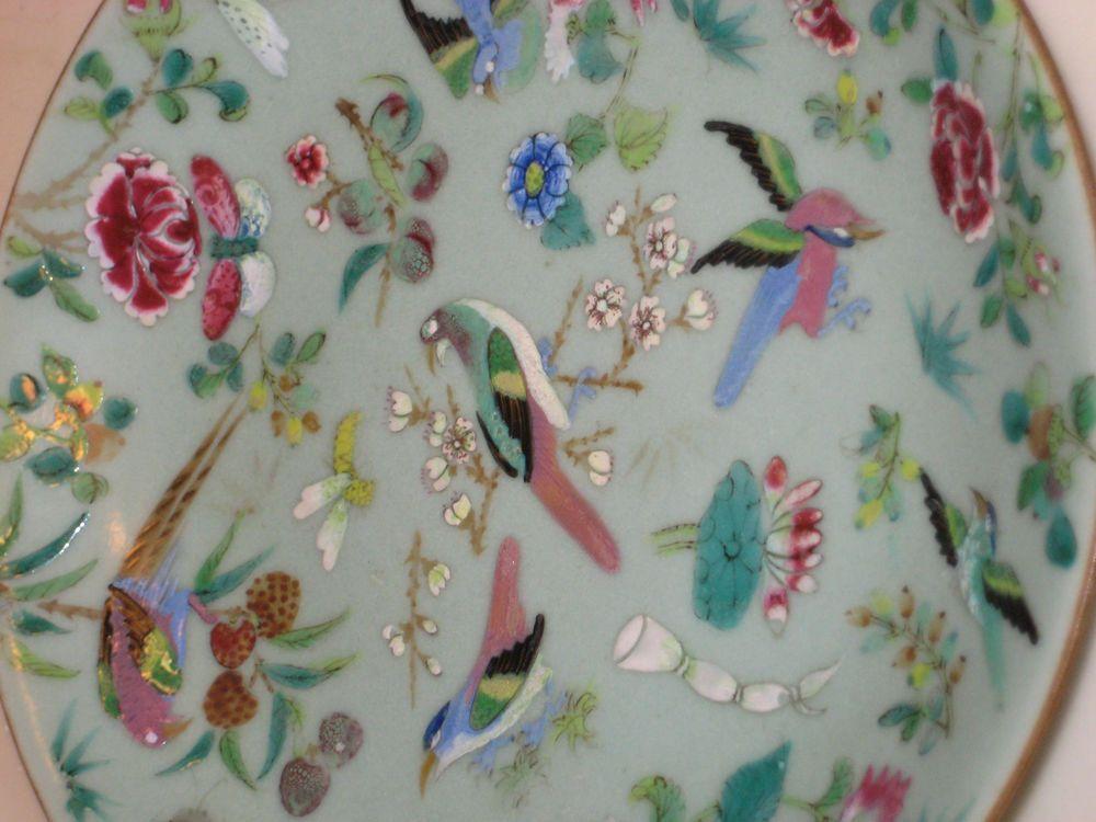 Chinese Export Porcelain Enameled Celadon Bird/Flower Plate signed