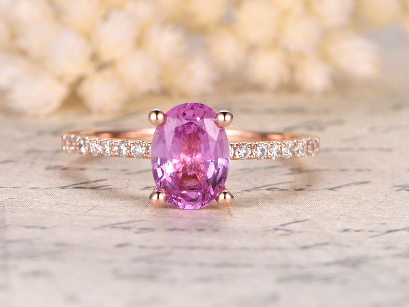 Pink Sapphire Engagement Ring,14K Rose Gold,6x8mm Oval Cut pink ...