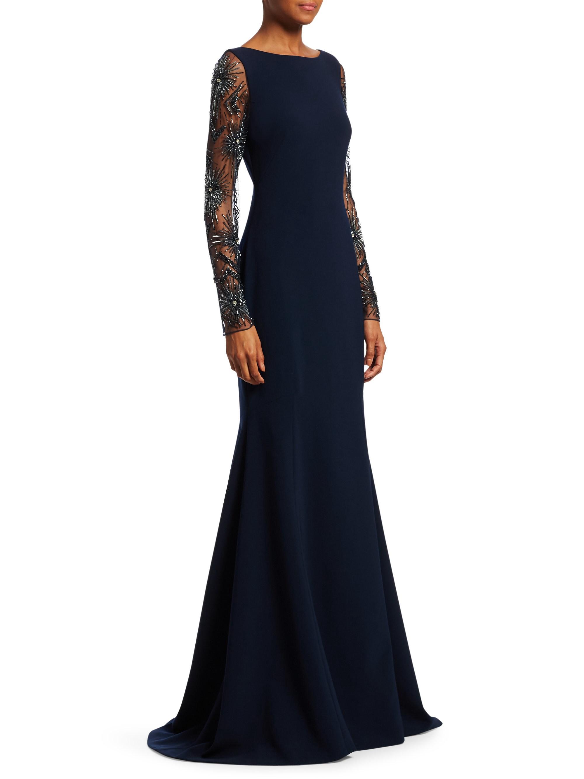598592577ed Theia Starburst Beaded Mermaid Gown - Navy 0