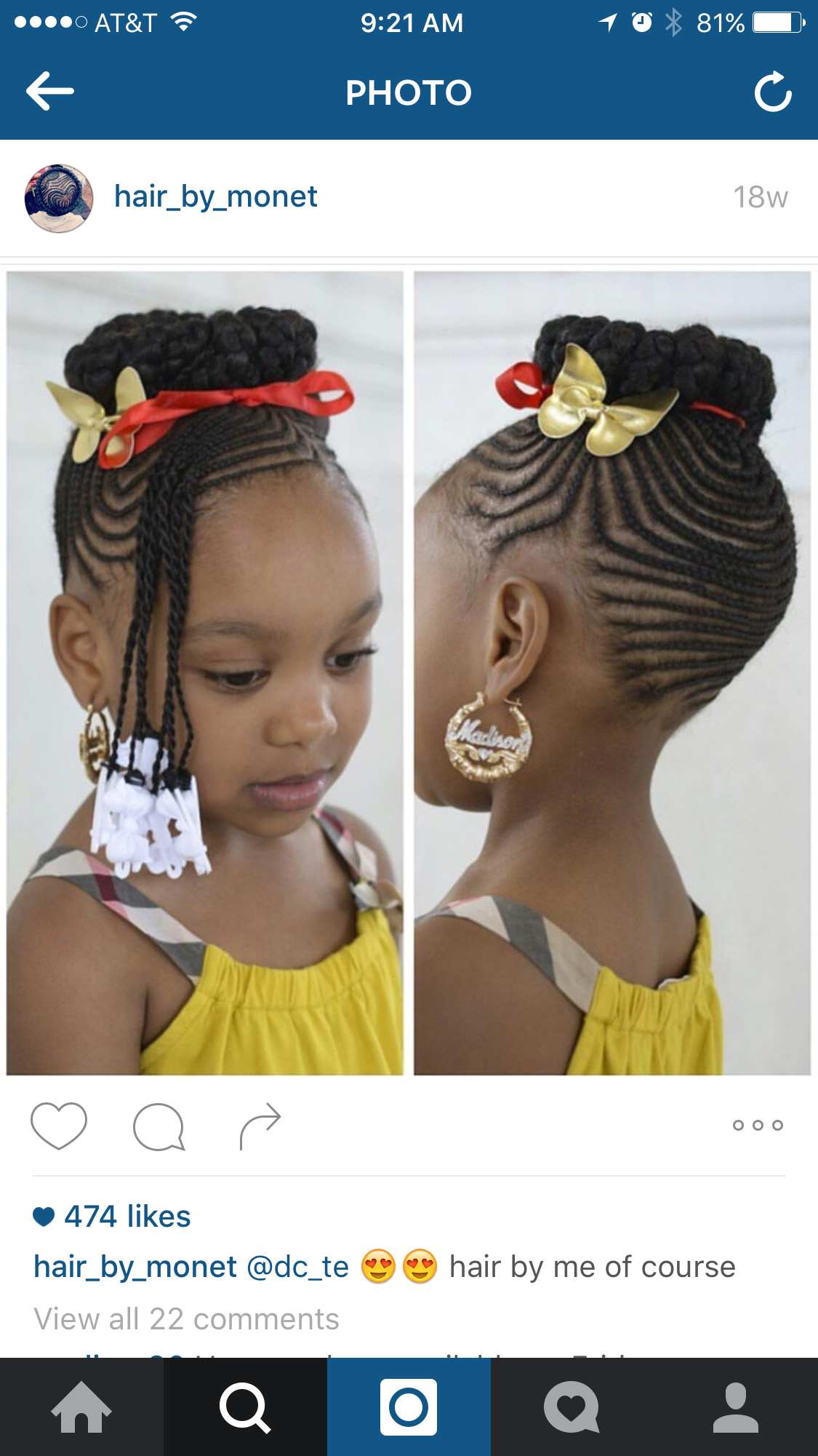 Bamboo earrings and hairstyle for Dani