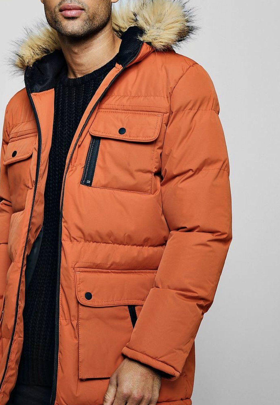 Men S Orange Outerwear With Multiple Pockets Mens Winter Fashion Mens Jackets Winter Jackets [ 1591 x 1101 Pixel ]