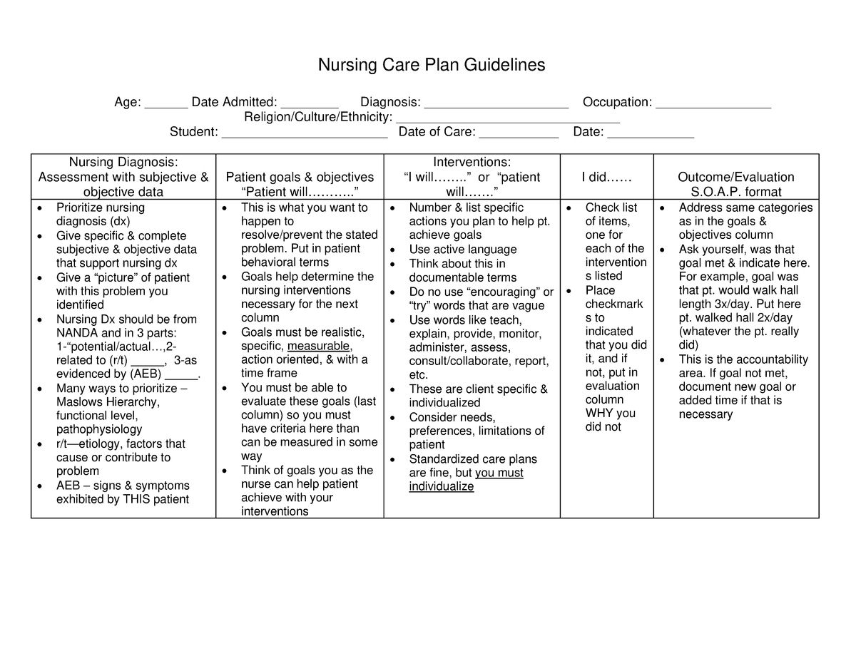 Care Plan Guide