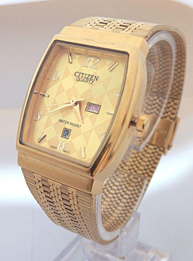 new citizen quartz day date gold steel square gold dial analog new citizen quartz day date gold steel square gold dial analog men s watch 21