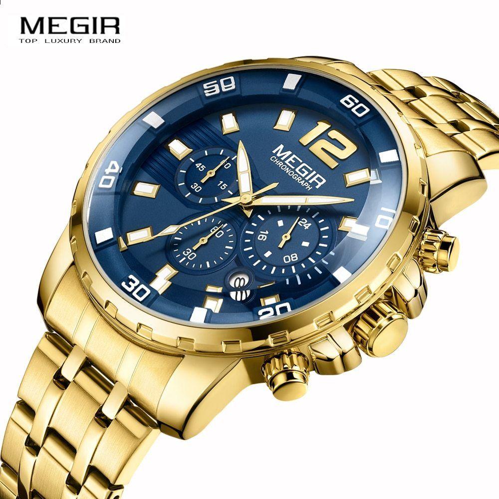 f814482fd2b MEGIR Cronograf cu cuarț pentru bărbați ceas relogio masculino de luxo  ceasuri de mână Ceas bărbați Relogio Masculino de afaceri ceas de mână