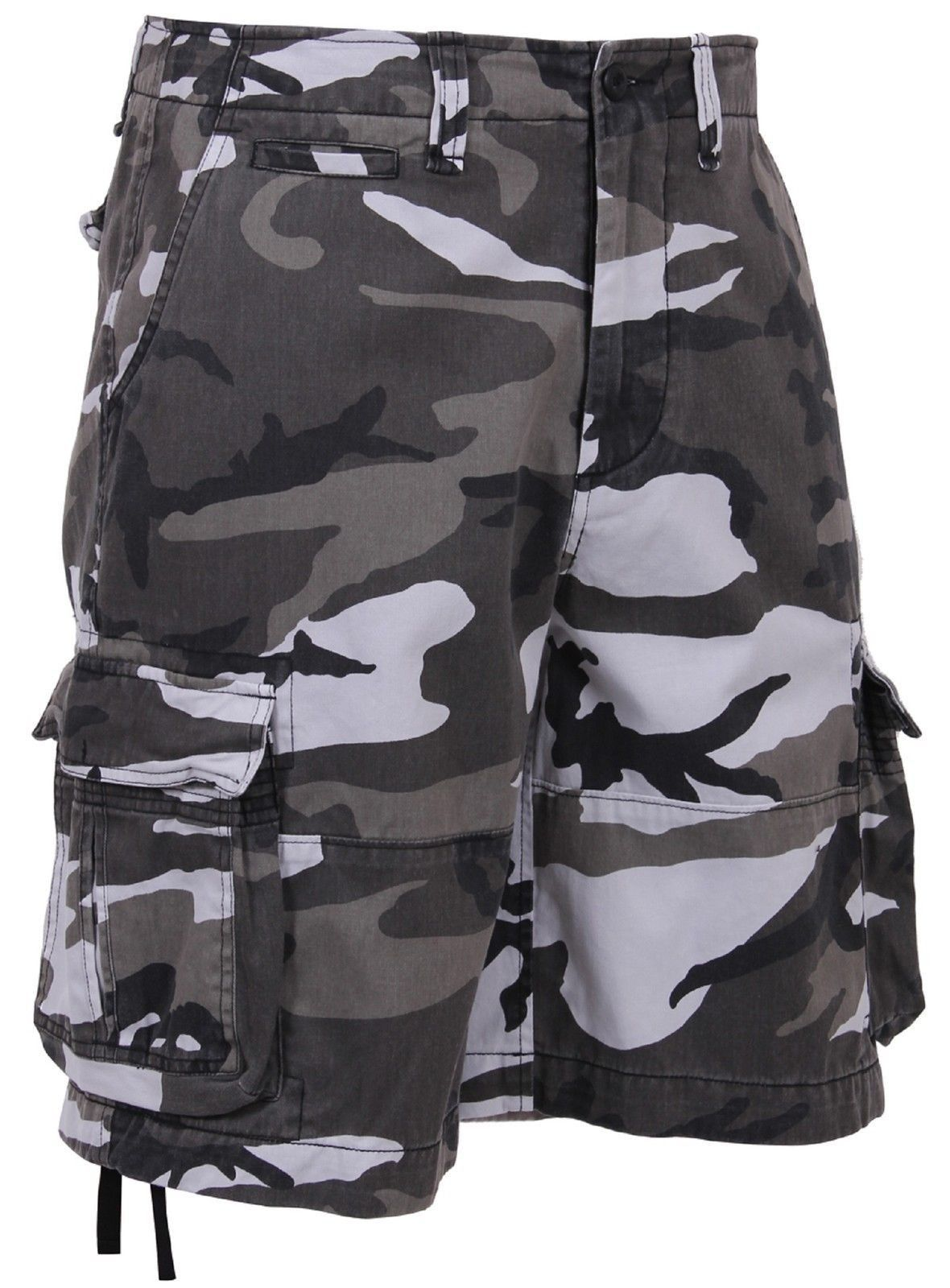 f0115a8805 Men's Vintage City Camouflage Utility Cargo Shorts - Black and White Camo