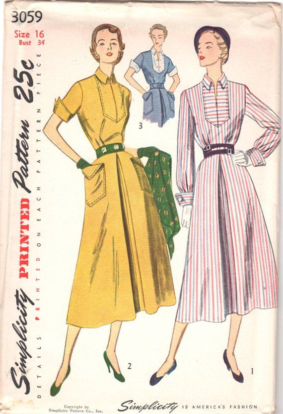 1940s Simplicity 3059 Misses Inverted Front Pleat DRESS