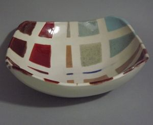 Slumped ceramic bowl by Susan Sternlieb