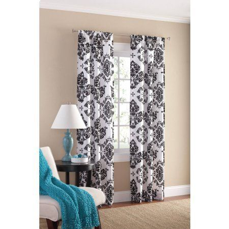 Mainstays Classic Noir Polyester Curtain Panel In Gray Set Of 2