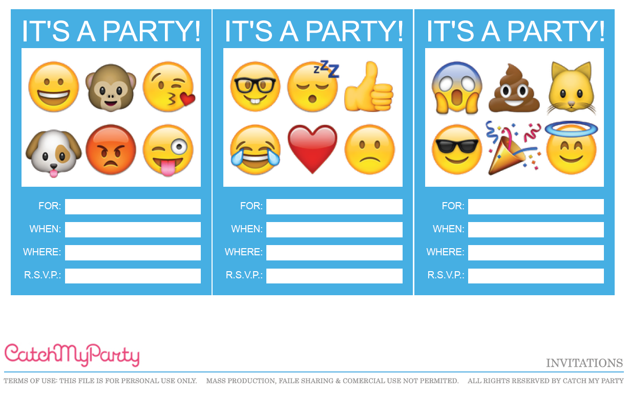 It is a graphic of Modest Emoji Invitations Printable Free