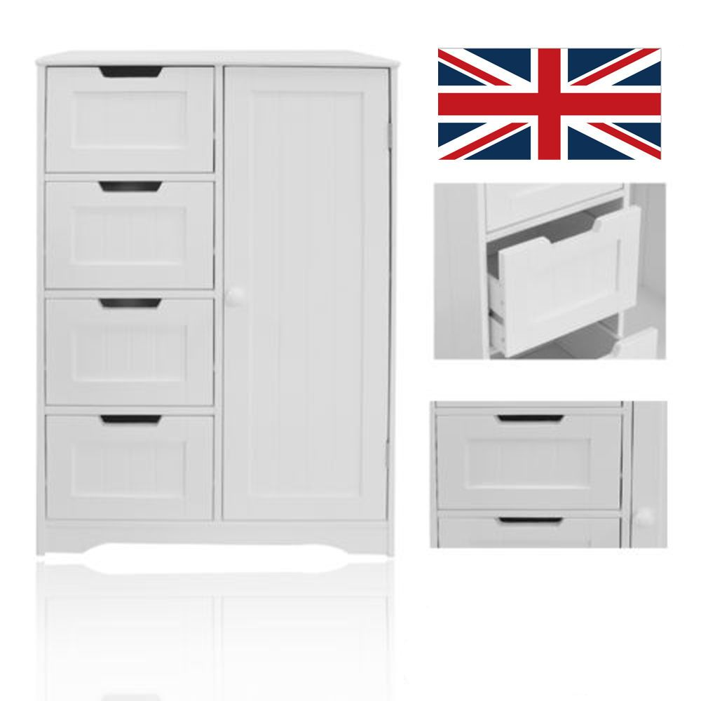 This Is A Stunning New Product With A Modern Stylish Design The Bathroom 4 Drawer 1 Door Free Standing Unit Wooden Chest White Doors Bathroom Storage Cabinet