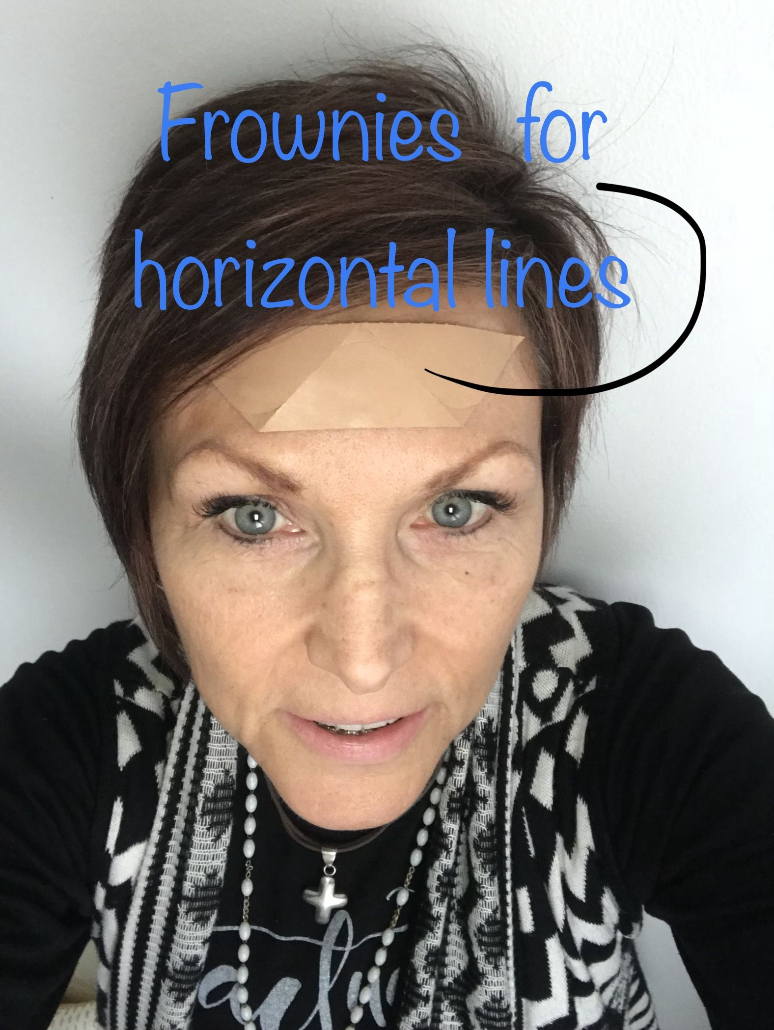 For horizontal wrinkles cover the width of the wrinkles