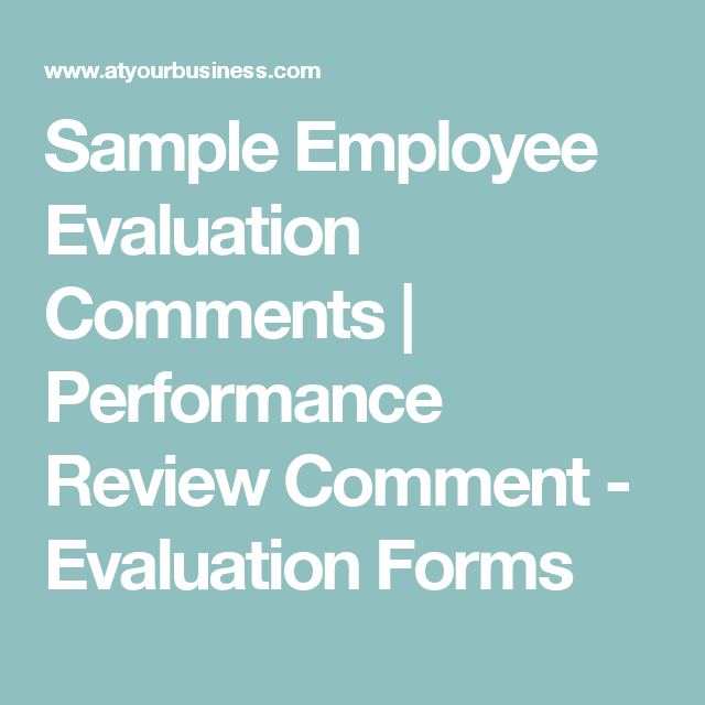Sample Employee Evaluation Comments | Performance Review Comment ...