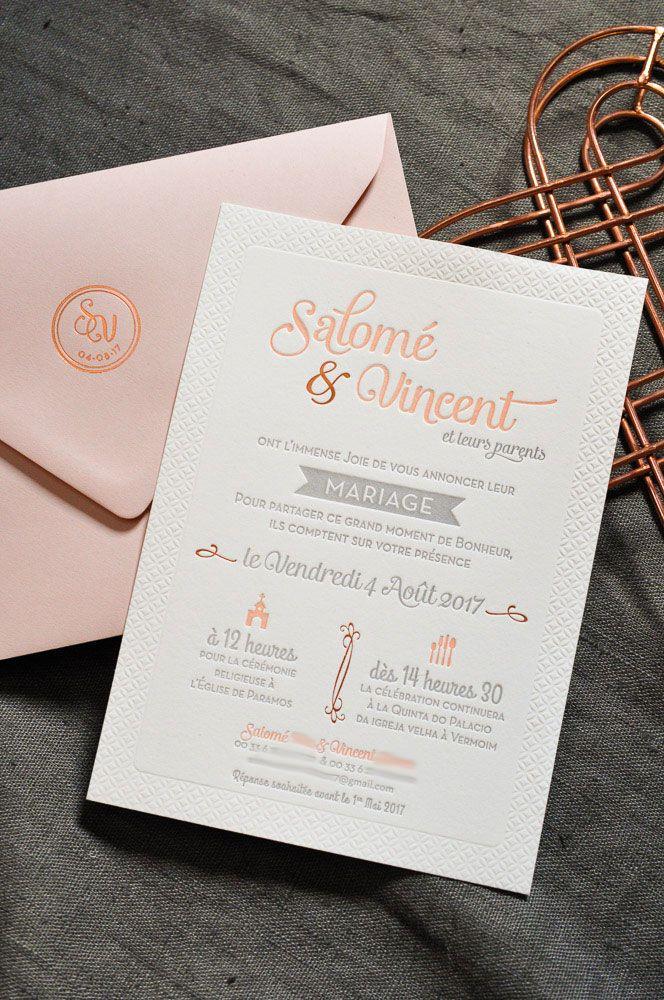 """Fabuleux L'Atelier Letterpress - Délicat Faire-part de Mariage """"Macaron  AJ05"""