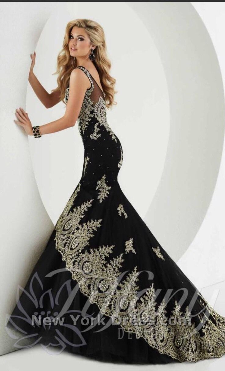 Cool awesome tiffany designs black u gold mermaid prom