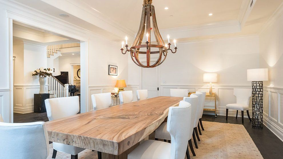 Concrete And Wood Dining Table Dining Room Transitional With Neutral Colors Wood Floori French Country Dining Room Large Dining Room Table Country Dining Rooms