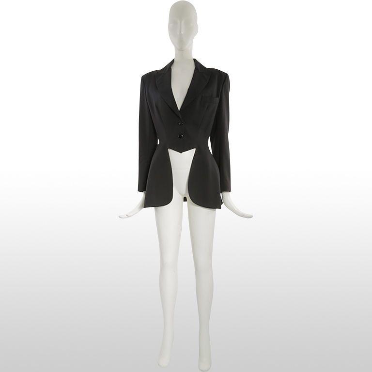 Vintage 80s Azzedine Alaia Black Ringmasters Redingote Tuxedo Runway Jacket  - M