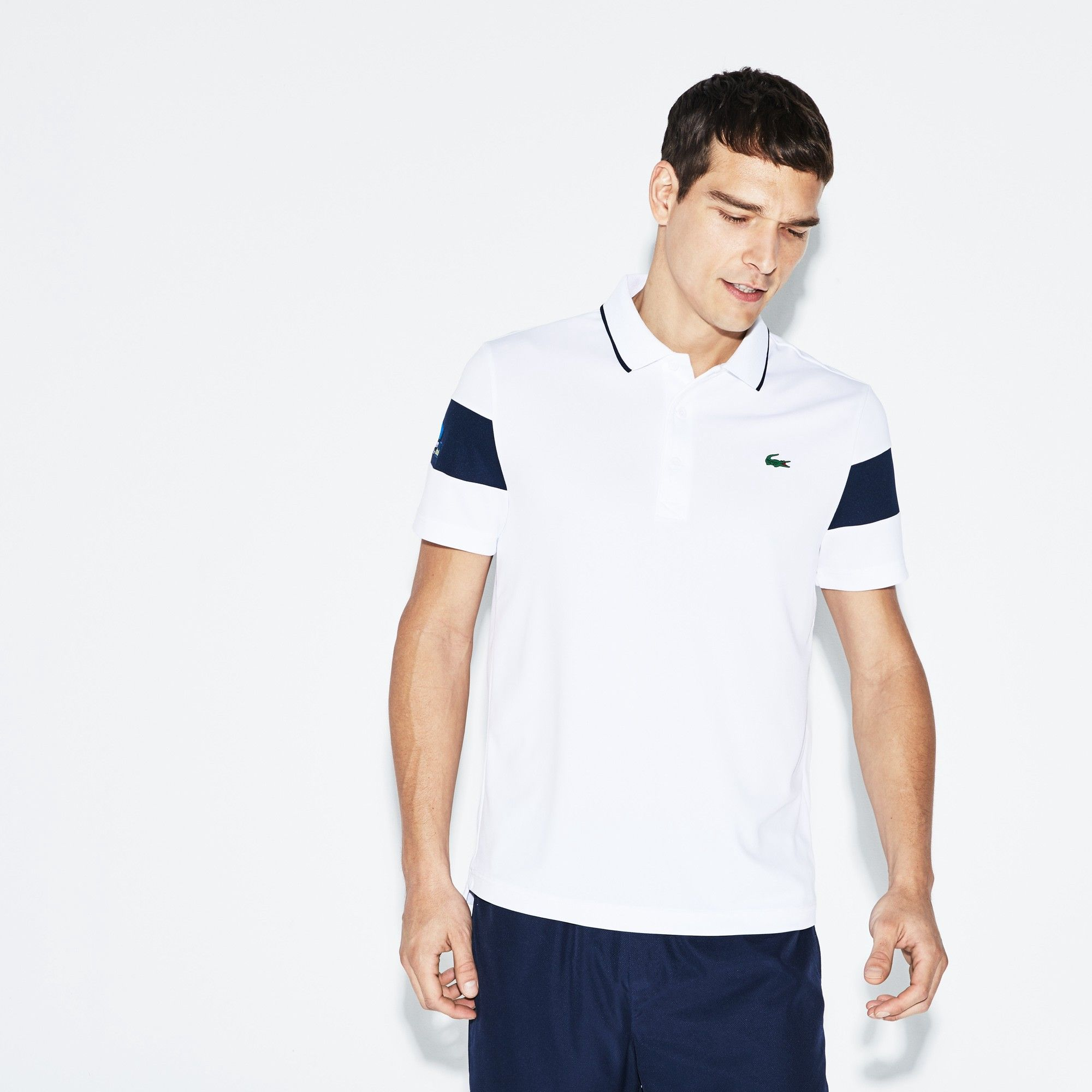 Lacoste Men s Sport Miami Open Technical Piqué Tennis Polo - White Navy  Blue 3XL fa4fb53d91