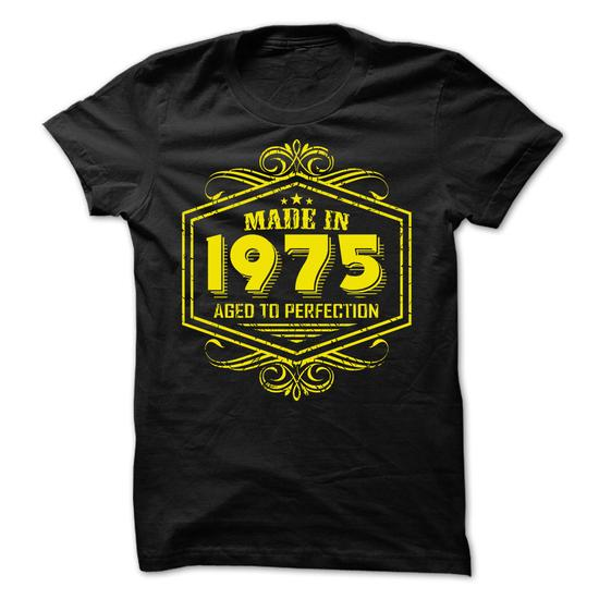 Made in 1975 Aged to Perfection yellow #Tshirt #style