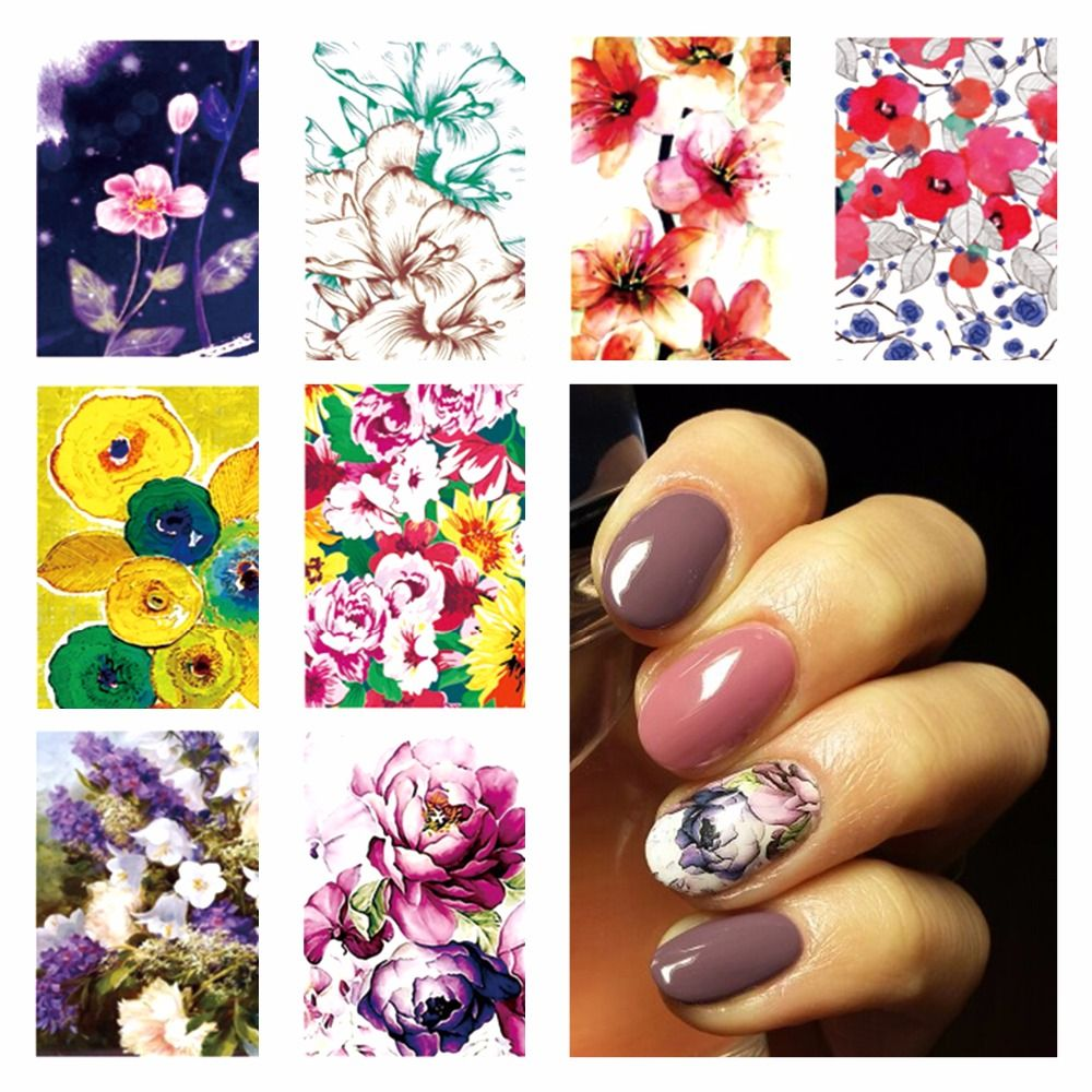 FWC Hot DIY Designs Nail Art Beauty Flower Water Stickers Nails ...