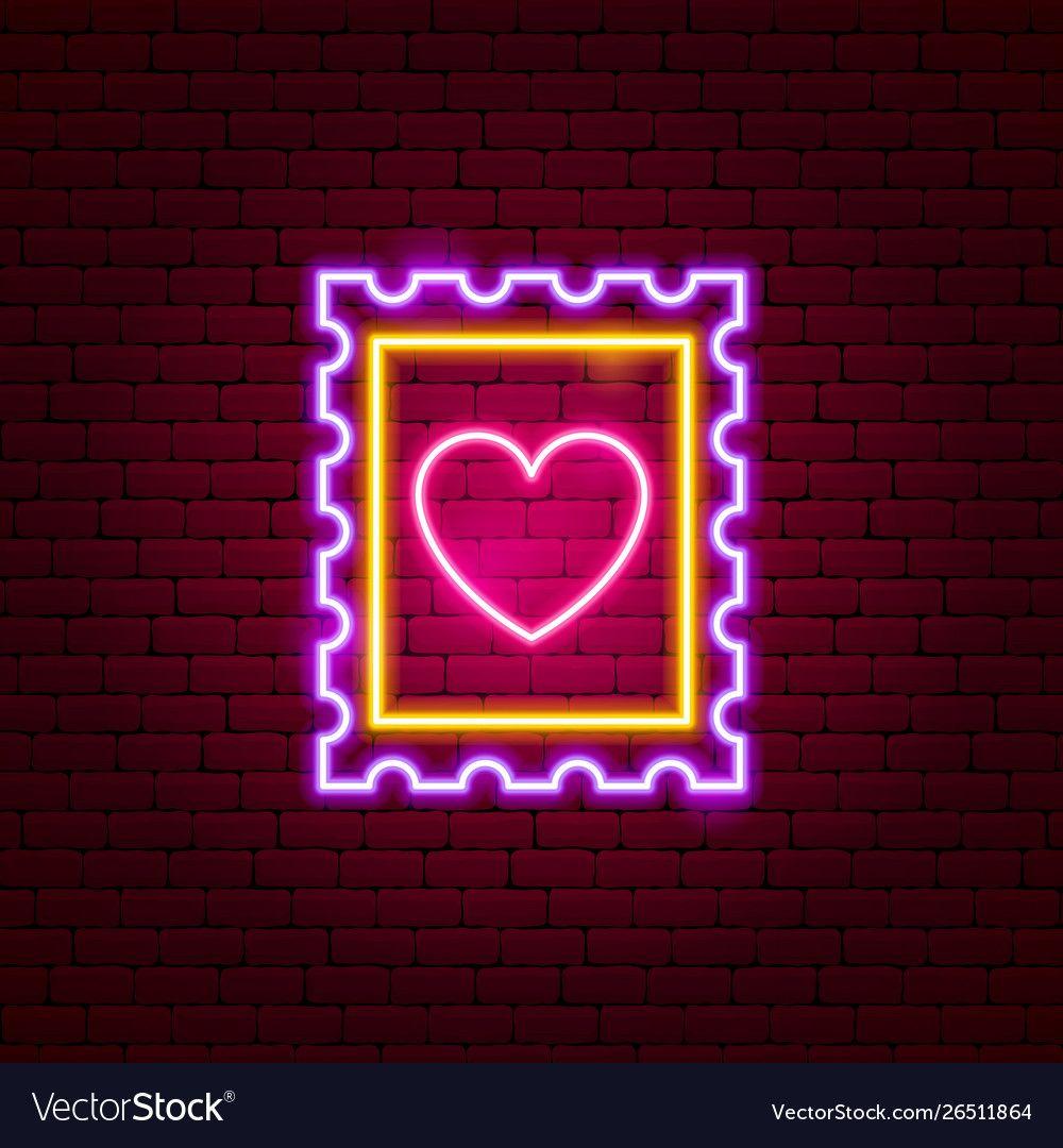 Heart post stamp neon sign vector image on VectorStock in