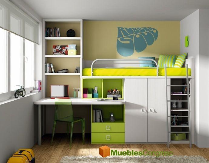 Dormitorio juvenil con cama litera home pinterest for Camas literas juveniles