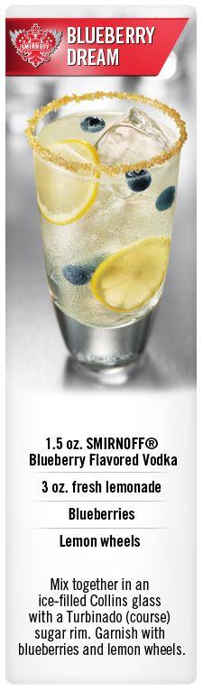 Zesty Blueberry Dream cocktail with Smirnoff Blueberry flavored vodka and lemonade #Smirnoff #vodka #drink #recipe