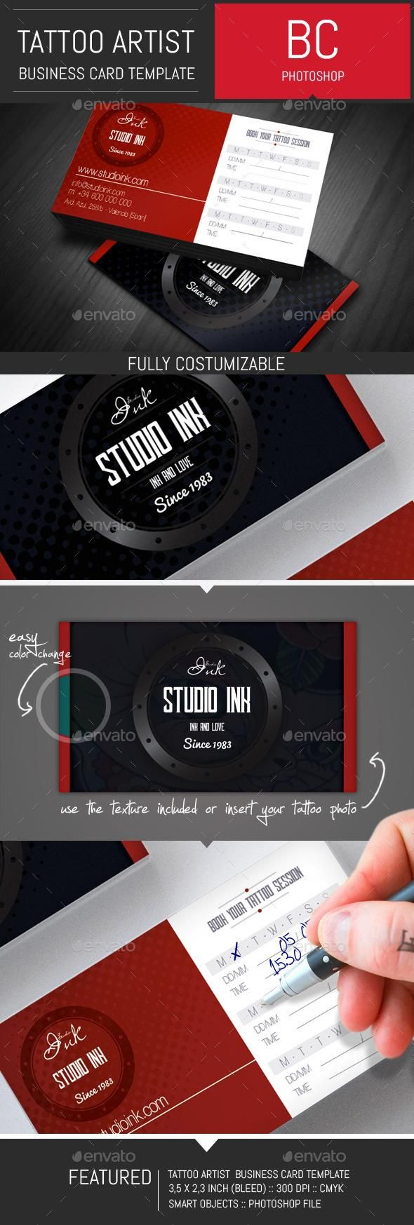 Tattoo artist business card template card templates business tattoo artist business card template magicingreecefo Image collections
