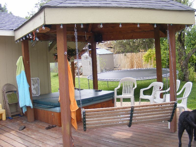 Deck with built in gazebo hot tub and swing hot tub for Built in gazebo