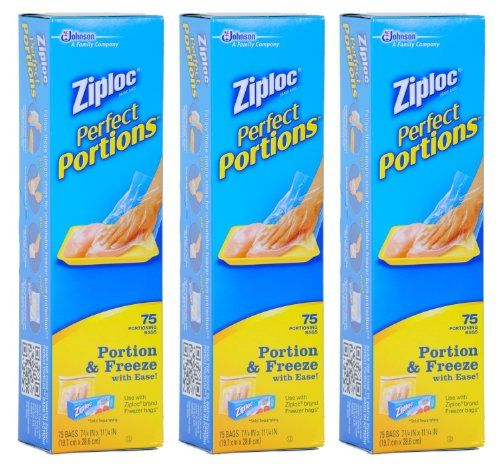Ziploc Perfect Portions Meat Storage Freezer Bag 75 Count Pack Of 3