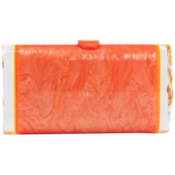 Pre-owned Edie Parker Edie Lara Backlit Orange Clutch (9,945 MXN) ❤ liked on Polyvore featuring bags, handbags, clutches, orange, evening clutches, lucite purse, acrylic box clutch, special occasion clutches and evening handbags