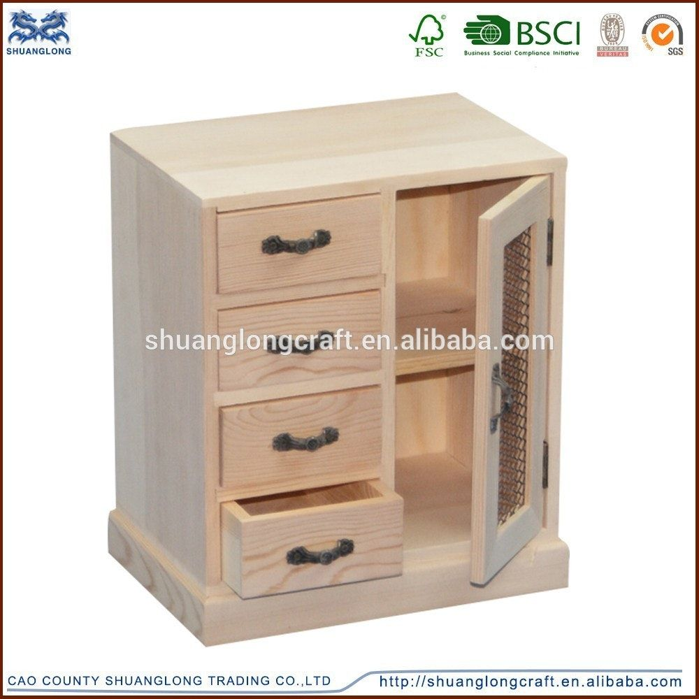Handmade Unfinished Solid Wood Cabinet Small Drawers Image With