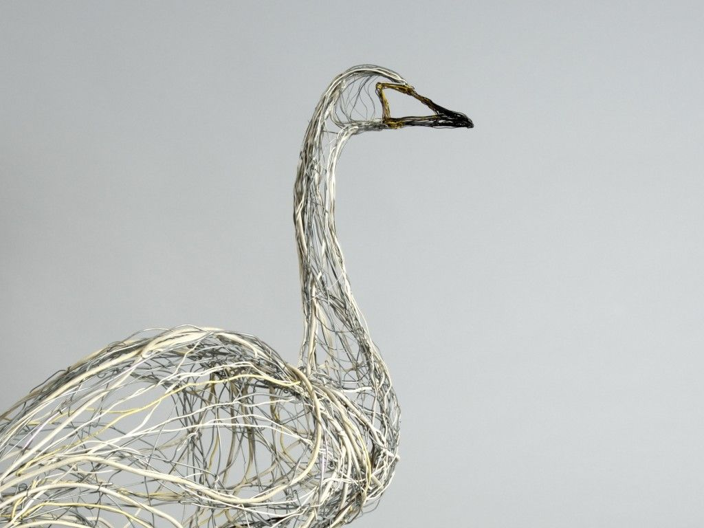 Standing Whooper Swan. Copper and steel wires, telephone cabling and ...