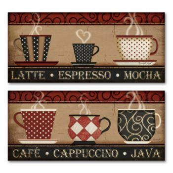 Coffee  Cappuccino 2-pc Wall Art Set House Pinterest Wall