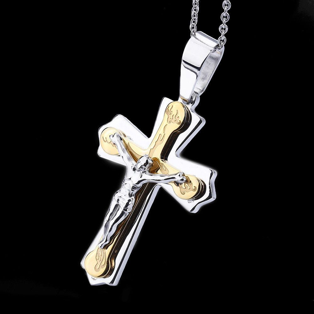 Necklace Pendant Brand Silver Gold Jewelry Cross Crucifix Jesus