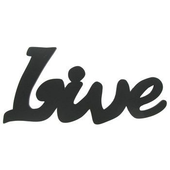 Live Black Wood Wall Word