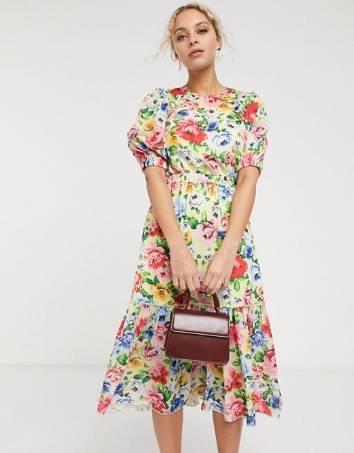 Twisted Wunder Midi Tea Dress In Lemon Floral Asos In 2020 Tea Dress Dresses Asos