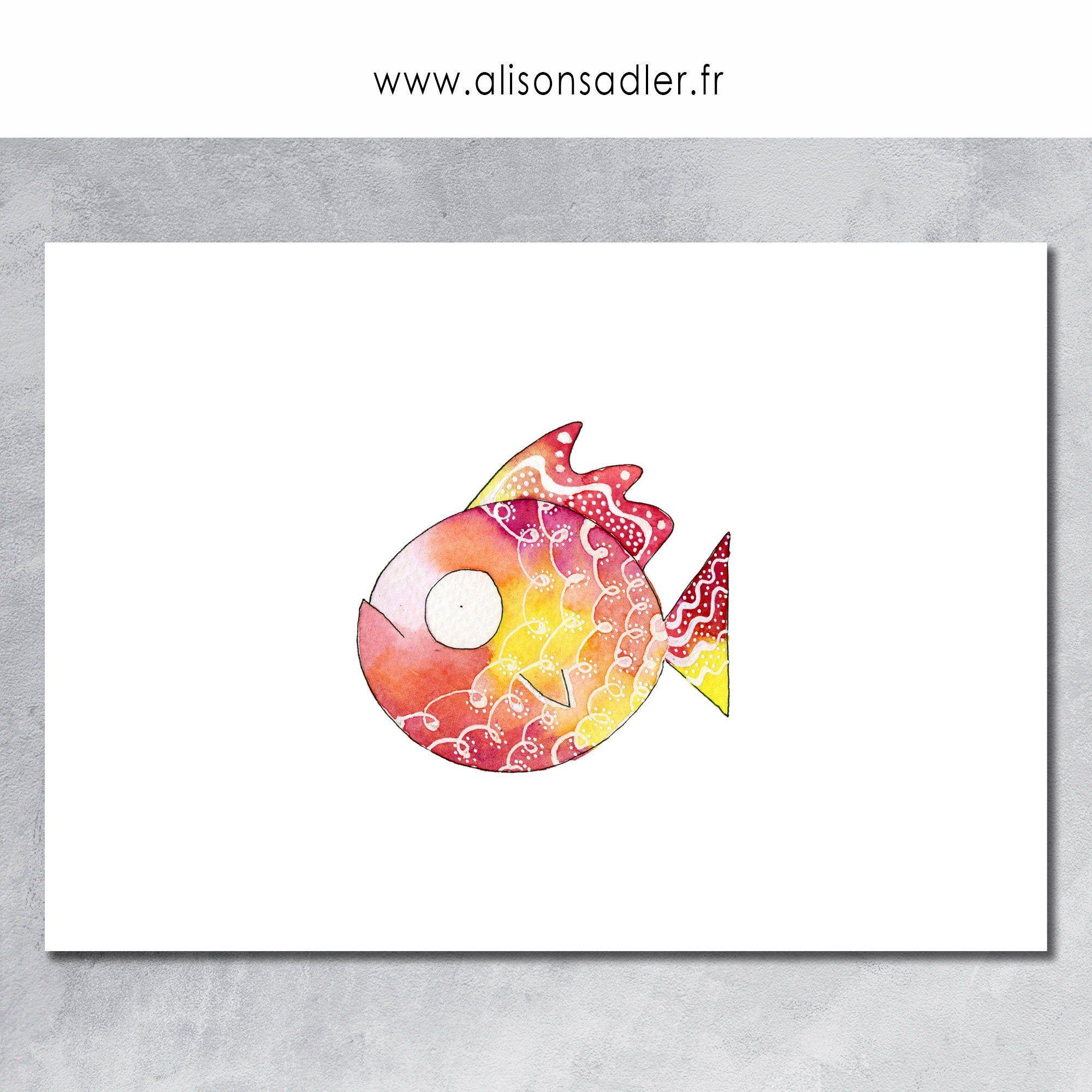 Poissons Affiches Jaune Rouge Estampes D Art Estampes Cadeau