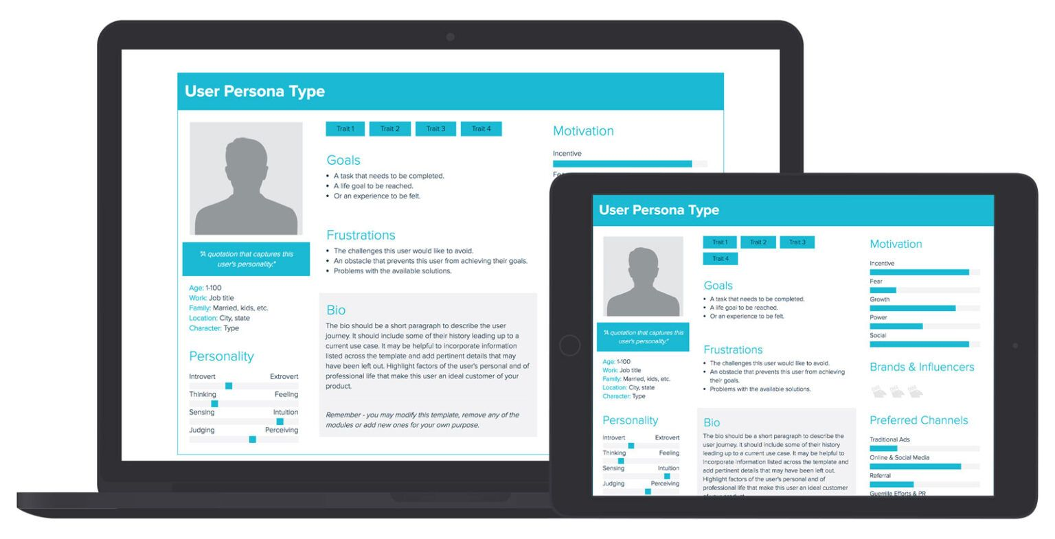 User Persona Template And Examples Xtensio within Blank
