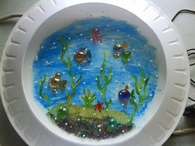 Simple Craft Thermocol Plate Crystal Pebbles Fish Aquatic