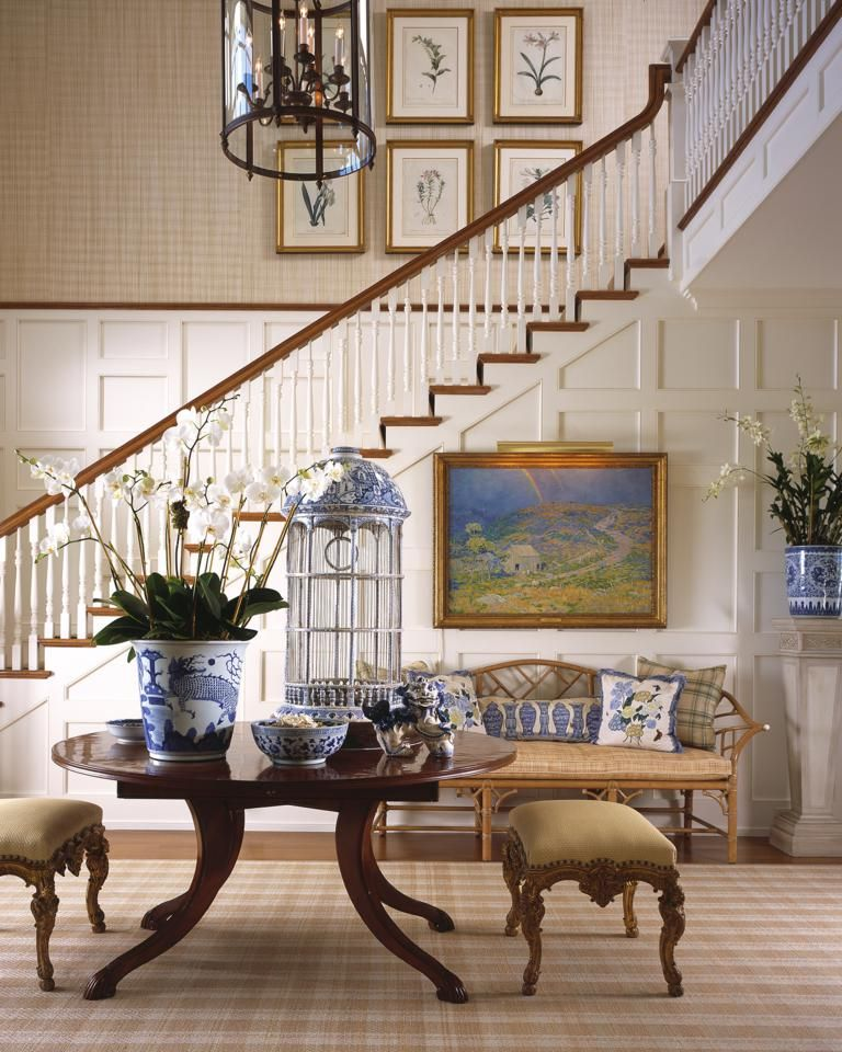 Stair Hall With White Wainscoting/paneling Tan Grasscloth