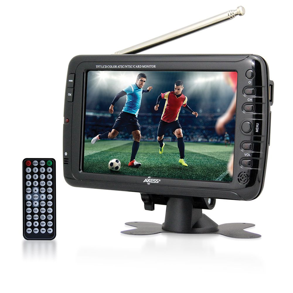 7-inch LCD TV with ATSC/NTSC Digital Tuner, Built-in Rechargeable Battery, and USB/SD Card Reader.