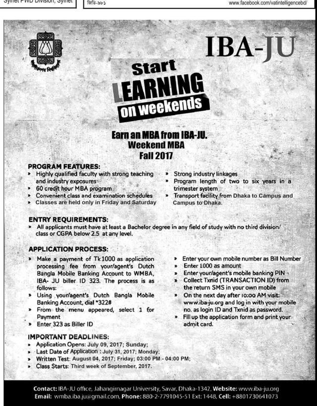 MBA from IBA-JU | Admission | Education, Summer